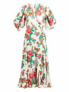 Rhode - Fiona Floral Print Cotton Wrap Dress - Womens - White Print