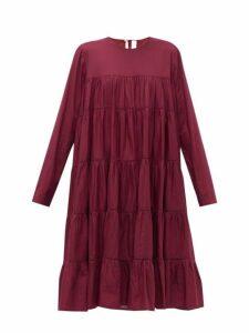 Merlette - Essouaria Cotton Smock Midi Dress - Womens - Burgundy