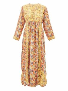 Muzungu Sisters - Frangipani Poppy White Print Silk Midi Dress - Womens - Orange Multi