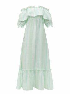 Beulah - Aakash Striped Linen Maxi Dress - Womens - Green