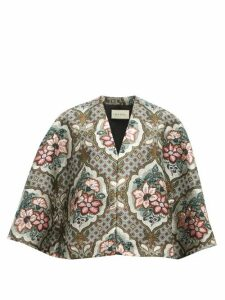 Gucci - Floral Brocade Cape - Womens - Grey