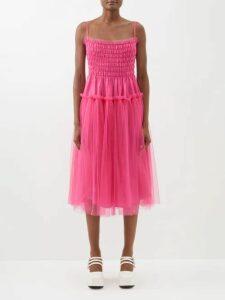 Zandra Rhodes - Sunray Pleated Lamé Knee Length Dress - Womens - Silver