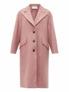 Harris Wharf London - Peak Lapel Single Breasted Wool Coat - Womens - Light Pink