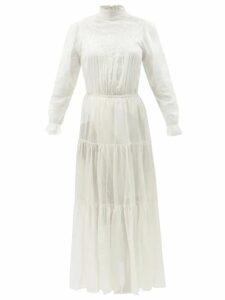 Christopher Kane - Dot Print High Neck Crepe Midi Dress - Womens - White Black