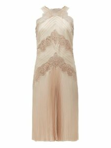 Fendi - Chantilly Lace Halterneck Charmeuse Dress - Womens - Nude