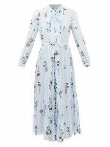 Valentino - V Logo Jacquard Satin Back Silk Chiffon Shirt - Womens - Navy