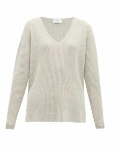 Allude - Ribbed V Neck Cashmere Sweater - Womens - Light Grey