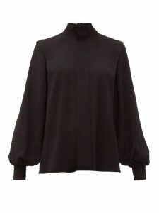 Emilia Wickstead - Brunhilda Tie Neck Crepe Blouse - Womens - Black