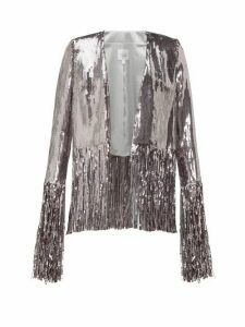 Galvan - Stardust Fringed Sequinned Jacket - Womens - Silver