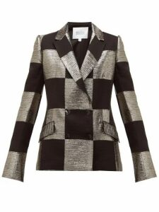 Galvan - Ziggy Checked Double Breasted Lamé Blazer - Womens - Black Gold