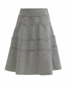 Alexander Mcqueen - Double Breasted Fluted Hem Leather Coat - Womens - Dark Red