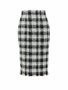 Alexander Mcqueen - Checked Tweed Pencil Skirt - Womens - Light Blue