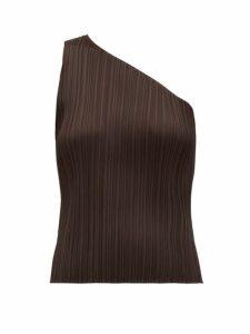 Pleats Please Issey Miyake - Pleated One Shouldered Top - Womens - Dark Brown