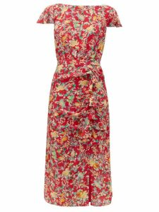 Saloni - Heather Floral Print Silk Dress - Womens - Red Multi