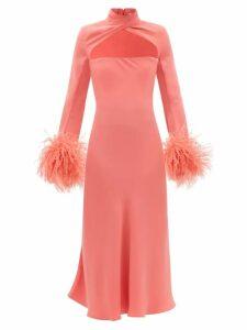 Saloni - Bianca Printed Silk Crepe Dress - Womens - Blue Print