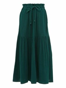 Apiece Apart - Gailicia Shirred Waist Cotton Muslin Midi Skirt - Womens - Dark Green