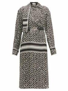 Bottega Veneta - Patterned Drape Neck Silk Twill Wrap Dress - Womens - Black White