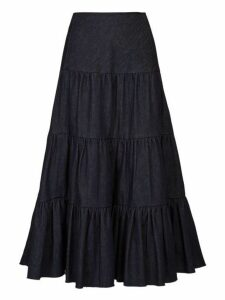 Chloé - Tiered Raw Hem Denim Midi Skirt - Womens - Dark Denim