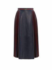 Gucci - Pleated Leather Midi Skirt - Womens - Navy Multi