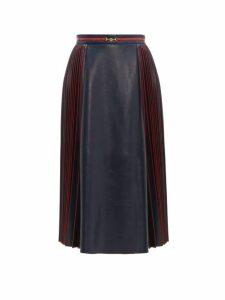 Gucci - Pleated Leather Midi Skirt - Womens - Navy Multi