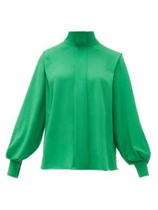 Emilia Wickstead - Brunhilda Bow Tie Crepe Blouse - Womens - Green