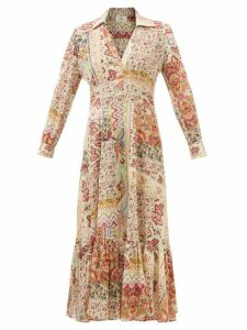 Galvan - Stardust Plunge Neck Sequinned Gown - Womens - Gold