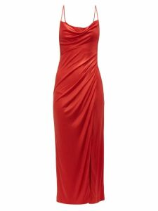 Galvan - Mars Charmeuse Ruched Slip Dress - Womens - Red