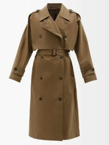 Prada - Double Breasted Nylon Trench Coat - Womens - Navy