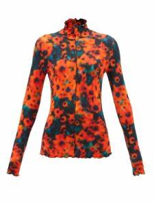 Saloni - Fleur Floral Print Ruffle Hem Silk Mini Dress - Womens - Green Multi