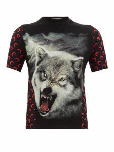 Marine Serre - Upcycled Wolf Print Jersey T Shirt - Womens - Black Multi