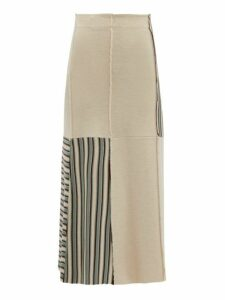 Jil Sander - Patchwork Stripes Virgin Wool Skirt - Womens - Blue Multi