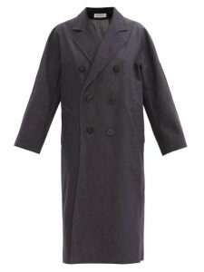 Ganni - Polka Dot Tie Front Satin Midi Dress - Womens - Navy