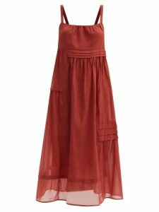 Ganni - Tiger Print Silk Blend Satin Wrap Dress - Womens - Black Green