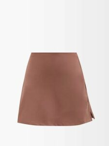 Ganni - Tiger Print Ruffled Organza Dress - Womens - Brown