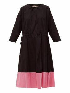 Marni - Godet Hem Cotton Poplin Midi Dress - Womens - Black Pink