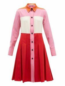 Marni - Panelled Twill Shirtdress - Womens - Red Multi