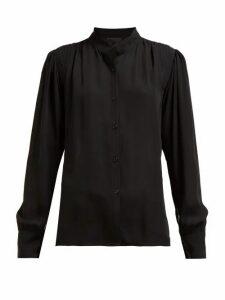 Nili Lotan - Lorena Gathered Crepe Shirt - Womens - Black
