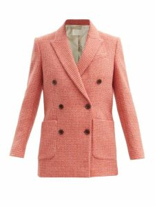Valentino - Tie Neck Ruffle Trimmed Silk Blouse - Womens - Red