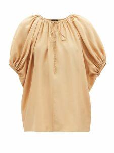 Bottega Veneta - Contrast Panel Belted Single Breasted Blazer - Womens - Camel
