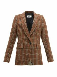 Mm6 Maison Margiela - Single Breasted Two Tone Checked Blazer - Womens - Brown