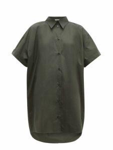 Mm6 Maison Margiela - Dropped Hem Cotton Poplin Shirt Dress - Womens - Dark Green