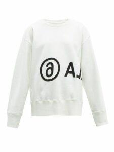 Mm6 Maison Margiela - Oversized Logo Print Cotton Sweatshirt - Womens - White