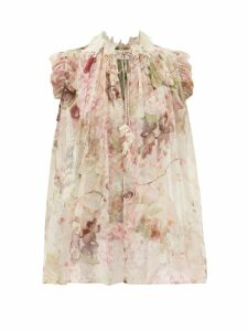 Staud - Panier Ruched Gingham Seersucker Midi Dress - Womens - Yellow