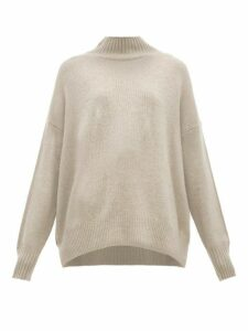 Allude - High Neck Cashmere Sweater - Womens - Light Grey