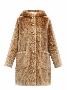 Shrimps - Gloria Leopard Print Faux Fur Hooded Coat - Womens - Leopard
