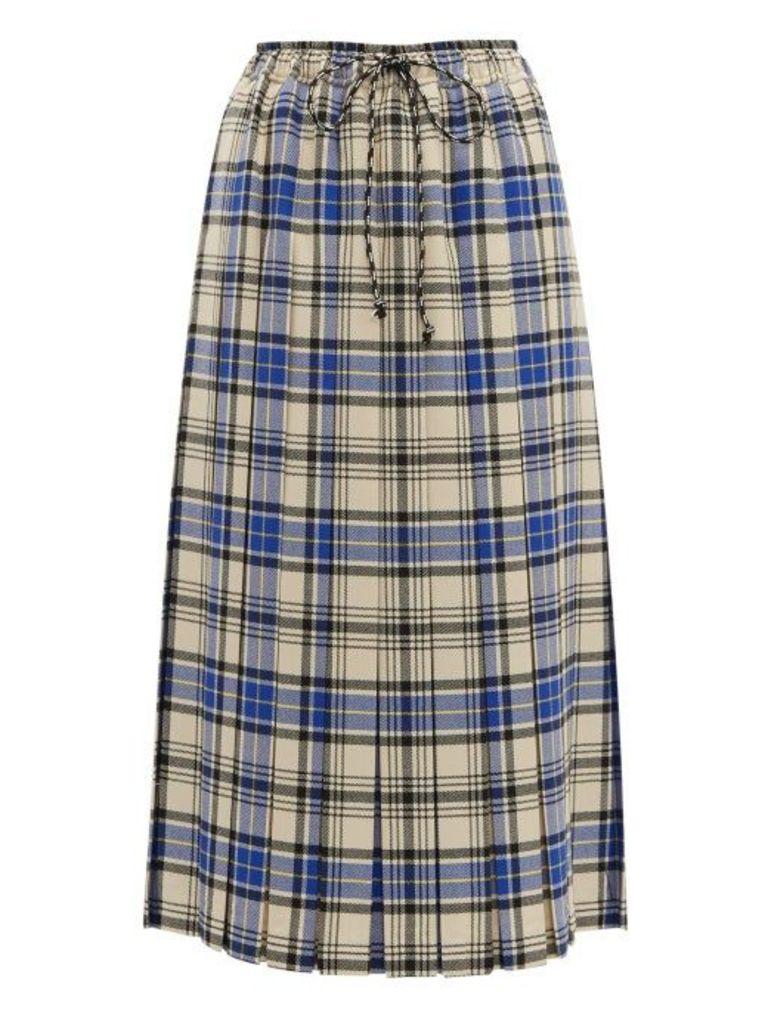 Shrimps - Vesper Pleated Wool Plaid Midi Skirt - Womens - Blue Multi