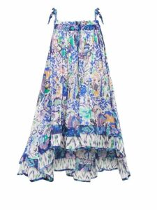 Preen By Thornton Bregazzi - Ashley Oak Leaf Print Dress - Womens - Black Multi