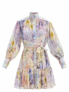 Preen By Thornton Bregazzi - Anabelle Forest Print Satin Wrap Dress - Womens - Black Green