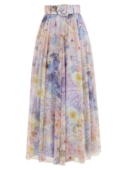 Preen By Thornton Bregazzi - Maya Printed Satin Devoré Midi Skirt - Womens - Blue