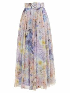 Preen By Thornton Bregazzi - Maya Printed Satin Devoré Midi Skirt - Womens - Blue